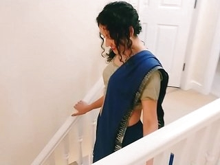 Desi young bhabhi strips from saree to please you Christmas present POV Indian
