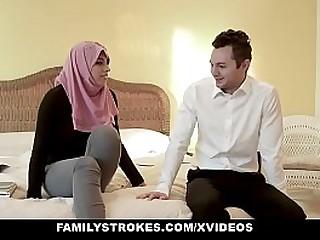 Family Strokes - Busty Arabian MILF (Ella Knox) Rides Cock